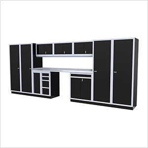 12-Piece Aluminum Garage Cabinet Set (Black)