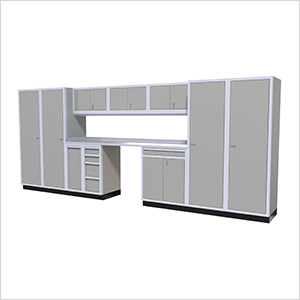 12-Piece Aluminum Garage Cabinet Set (Light Grey)