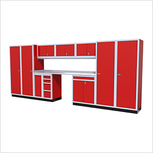 12-Piece Aluminum Garage Cabinet Set (Red)