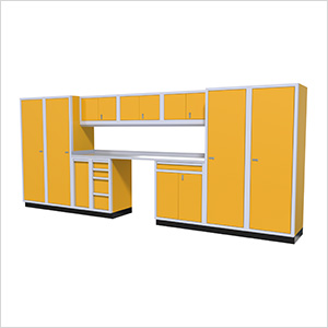 12-Piece Aluminum Garage Cabinet Set (Yellow)