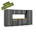 NewAge Garage Cabinets PRO Series 3.0 Grey 9-Piece Set with Bamboo Top