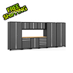NewAge Garage Cabinets PRO Series 3.0 Grey 10-Piece Set with Bamboo Top