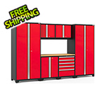 NewAge Garage Cabinets PRO Series 3.0 Red 7-Piece Set with Bamboo Top