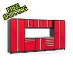 NewAge Garage Cabinets PRO Series 3.0 Red 9-Piece Set with Stainless Steel Top