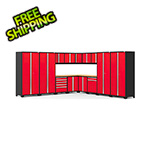 NewAge Garage Cabinets PRO Series 3.0 Red 16-Piece Corner Set with Bamboo Tops