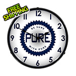 Collectable Sign and Clock Pure Oil Backlit Wall Clock