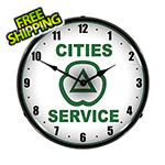 Collectable Sign and Clock Cities Services Backlit Wall Clock