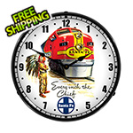 Collectable Sign and Clock Santa Fe Chief Backlit Wall Clock