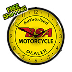 Collectable Sign and Clock BSA Motorcycle Backlit Wall Clock