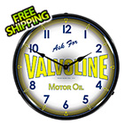 Collectable Sign and Clock Valvoline Motor Oil Backlit Wall Clock