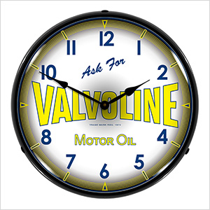 Valvoline Motor Oil Backlit Wall Clock