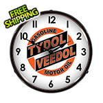 Collectable Sign and Clock Tydol Veedol Motor Oil Backlit Wall Clock
