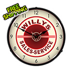 Collectable Sign and Clock Willys Sales-Service Backlit Wall Clock