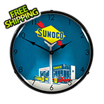 Collectable Sign and Clock Sunoco Gas Backlit Wall Clock
