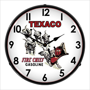 Texaco Fire Chief Gasoline Backlit Wall Clock