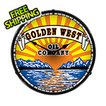 Collectable Sign and Clock Golden West Oil Company Backlit Wall Clock