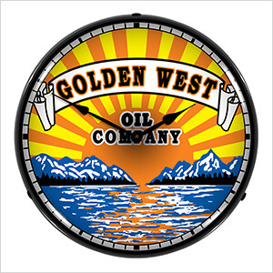 Golden West Oil Company Backlit Wall Clock