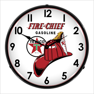Texaco Fire Chief Gasoline Backlit Wall Clock