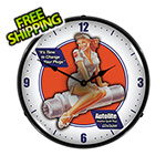 Collectable Sign and Clock Autolite Aviation Backlit Wall Clock
