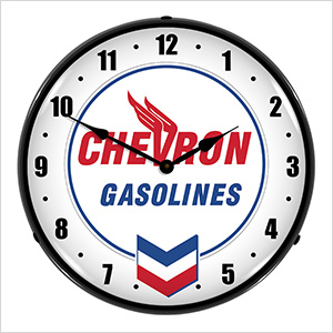 Chevron Gasolines Backlit Wall Clock