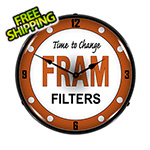 Collectable Sign and Clock FRAM Filters Backlit Wall Clock