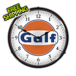 Collectable Sign and Clock Gulf Backlit Wall Clock