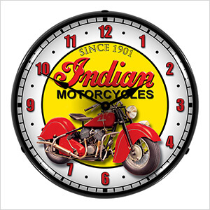 Indian Motorcycles Backlit Wall Clock