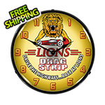 Collectable Sign and Clock Lions Drag Strip Backlit Wall Clock