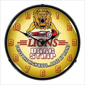 Lions Drag Strip Backlit Wall Clock