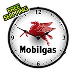 Collectable Sign and Clock Mobilgas Backlit Wall Clock