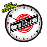 Collectable Sign and Clock North Western Railway Backlit Wall Clock