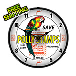 Collectable Sign and Clock Polly Stamps Backlit Wall Clock