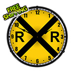 Collectable Sign and Clock Railroad Crossing Backlit Wall Clock