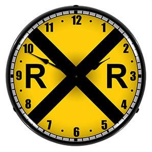 Railroad Crossing Backlit Wall Clock
