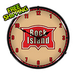 Collectable Sign and Clock Rock Island Railroad Backlit Wall Clock