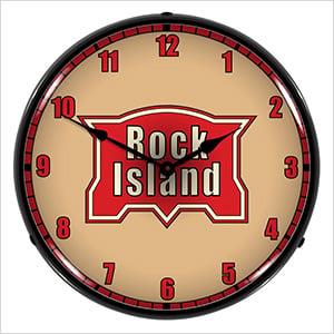 Rock Island Railroad Backlit Wall Clock