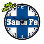 Collectable Sign and Clock Santa Fe Railroad Backlit Wall Clock