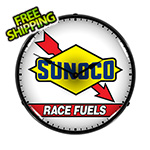 Collectable Sign and Clock Sunoco Race Fuels Backlit Wall Clock