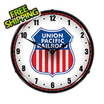 Collectable Sign and Clock Union Pacific Railroad Backlit Wall Clock