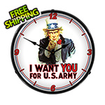 Collectable Sign and Clock Uncle Sam Backlit Wall Clock