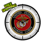 Collectable Sign and Clock US Marine Corps Backlit Wall Clock