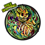 Collectable Sign and Clock Tattoo Skull Backlit Wall Clock