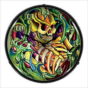 Tattoo Skull Backlit Wall Clock