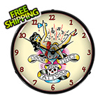 Collectable Sign and Clock Good Times and Tattoos Backlit Wall Clock