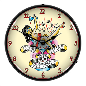 Good Times and Tattoos Backlit Wall Clock