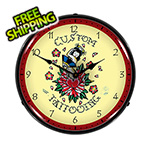Collectable Sign and Clock Custom Tattooing Backlit Wall Clock