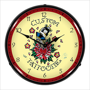 Custom Tattooing Backlit Wall Clock