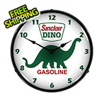 Collectable Sign and Clock Sinclair Dino Gasoline Backlit Wall Clock
