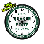 Collectable Sign and Clock Quaker State Motor Oil Backlit Wall Clock