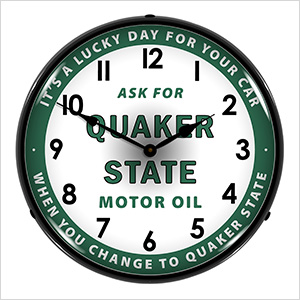 Quaker State Motor Oil Backlit Wall Clock